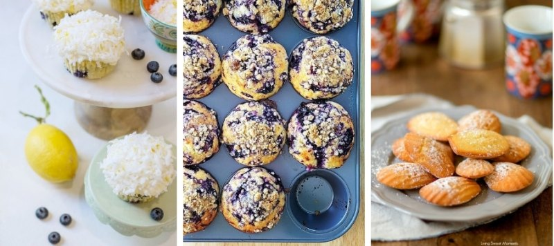 Lemon Coconut & Blueberry Cupcakes, Lemon & Blueberry Muffins and Lemon Madeleines