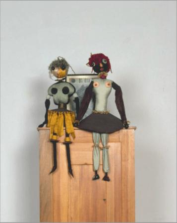 Hannah Höch German, 1889–1978 Dada Puppen (Dada Dolls), 1916 fabric, yarn, thread, board, and beads