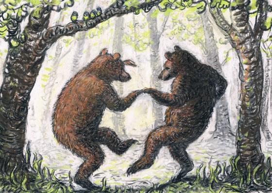 Illustration of Bears Dancing by Artist Charlotte Steel