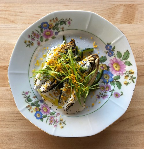Charred Endive, Piquillo Confit, buttermilk dressing, poppy seed, green onion, bottarga