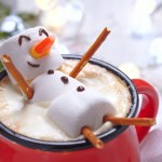marshmallow snowman in hot chocolate