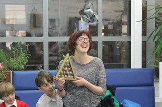 Marianne looking very excited to give out this prize!