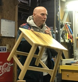 Footstool made from pallets and hardwood flooring scraps