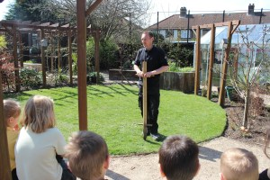 Charlton Manor Primary School pupils work with the gardener