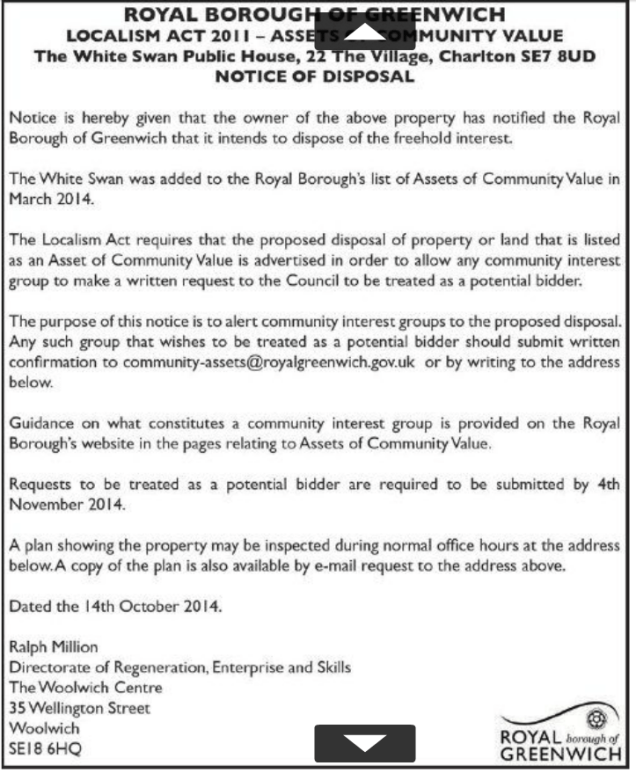 White Swan disposal notice in Greenwich Time