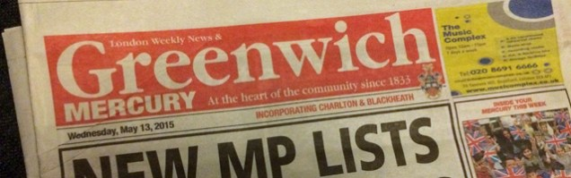 Priceless: Me and the newsagent settled on 30p for this Greenwich Mercury