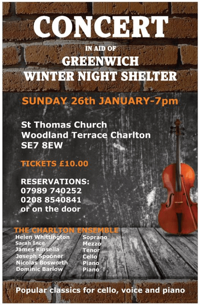Greenwich Winter Night Shelter concert poster
