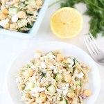 Salade d'orzo, feta et pois chiche