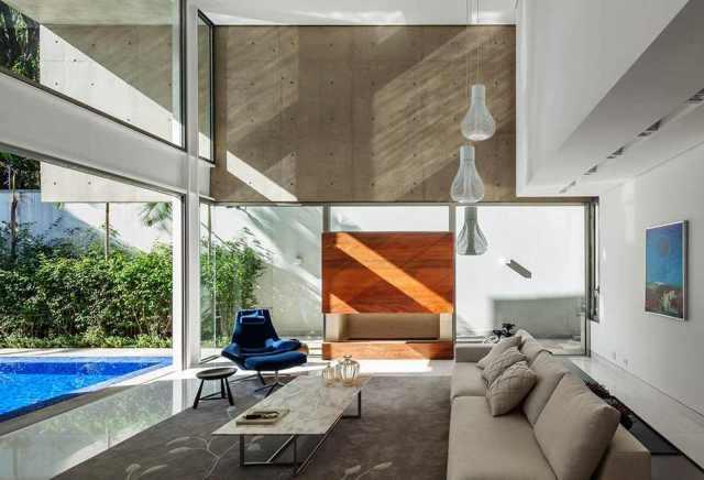 リビングルームのデザインMG-Residence-Modern-Mansion-Luxury-and-Style-Reinach-Mendonça-Arquitetos-in-São-Paulo