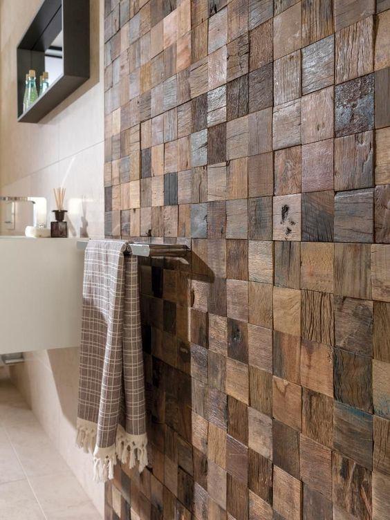 45.長方形の木製パッチワークのバスルームの壁