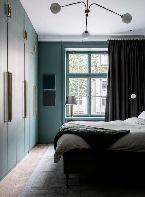 緑のスカンジナビアの寝室のデザイン2