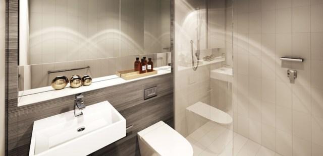 モダンなミニマリストのクールなバスルームのデザイン