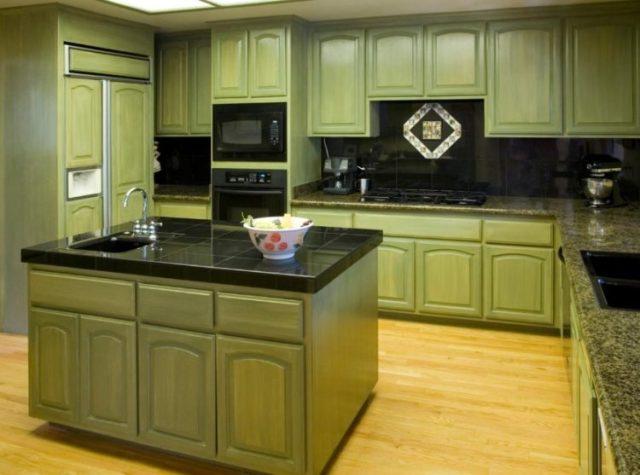 グリーンキッチンキャビネットの設計