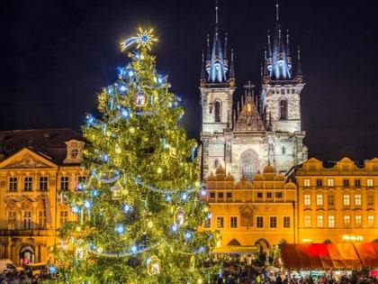画像に含まれる可能性のあるもの:都市、町、ダウンタウン、都市、建物、木、植物、装飾品、クリスマスツリー、建築、および人間