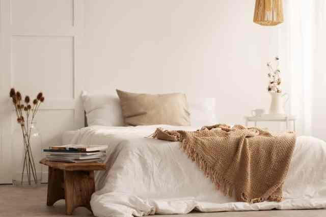 白い自由奔放に生きるミニマリストの寝室のアイデア
