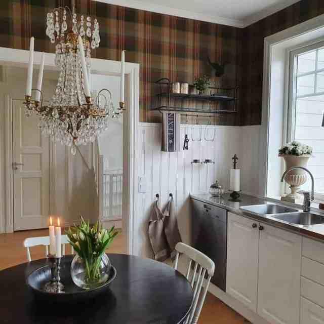 キッチン棚ディスプレイキッチン壁の装飾のアイデアvilla_wannerstam