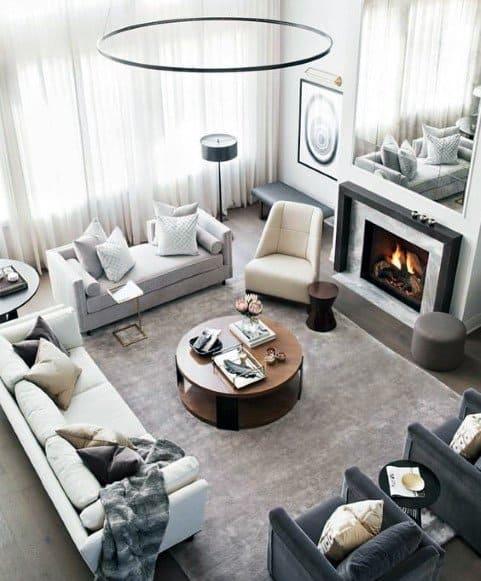 灰色のリビングルームの装飾のアイデア