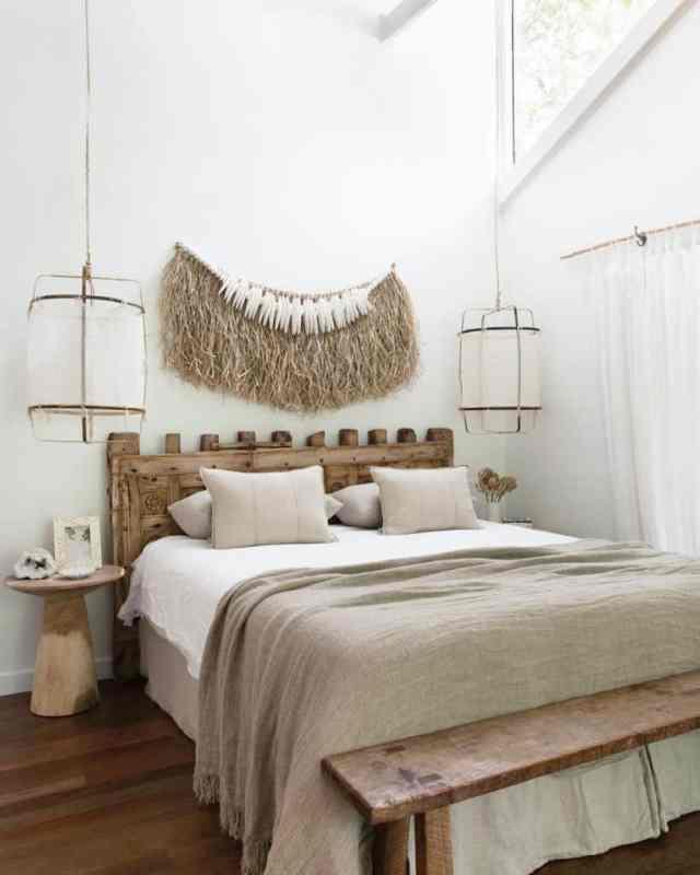自由奔放に生きる寝室のアイデアのための素朴で自然な装飾