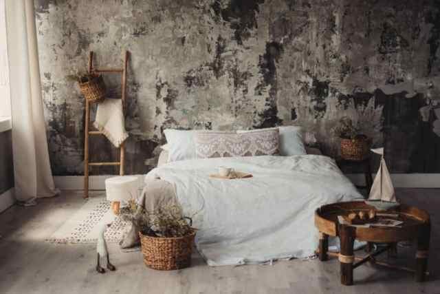 素朴なロマンチックなベッドルームのアイデア2