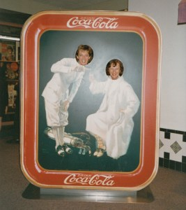 Photo of Shirley Taylor and Peggy Cunningham with a Coca-Cola photo stand-in