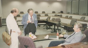 Photo of Ron Fullerton, Stan Hollander and Terry Nevett in discussion at CHARM 1993