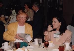 Photo of Diana Twede and Melissa James during lunch at CHARM 1999