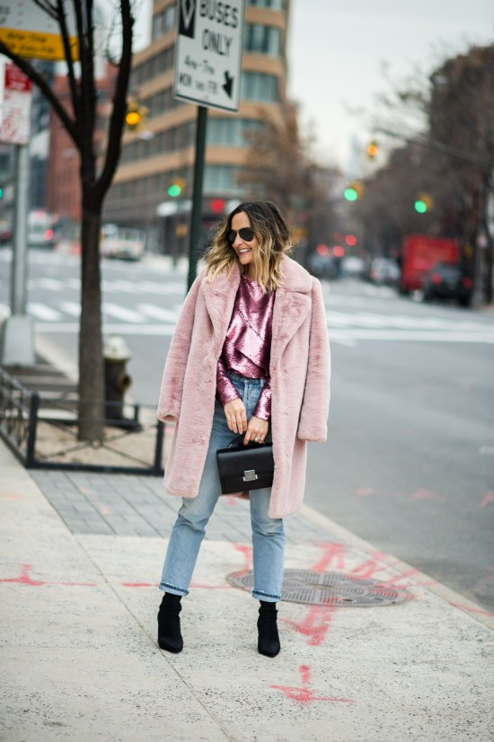 Pink Sequins and Faux Fur   Charmed by Camille