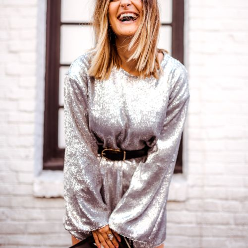 Silver Sequin Dress | Charmed by Camille