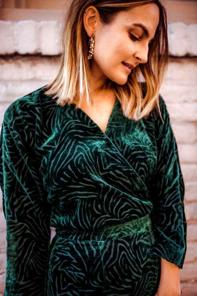 Green Velvet Dress, Party Dressed Under $100 | Charmed by Camille