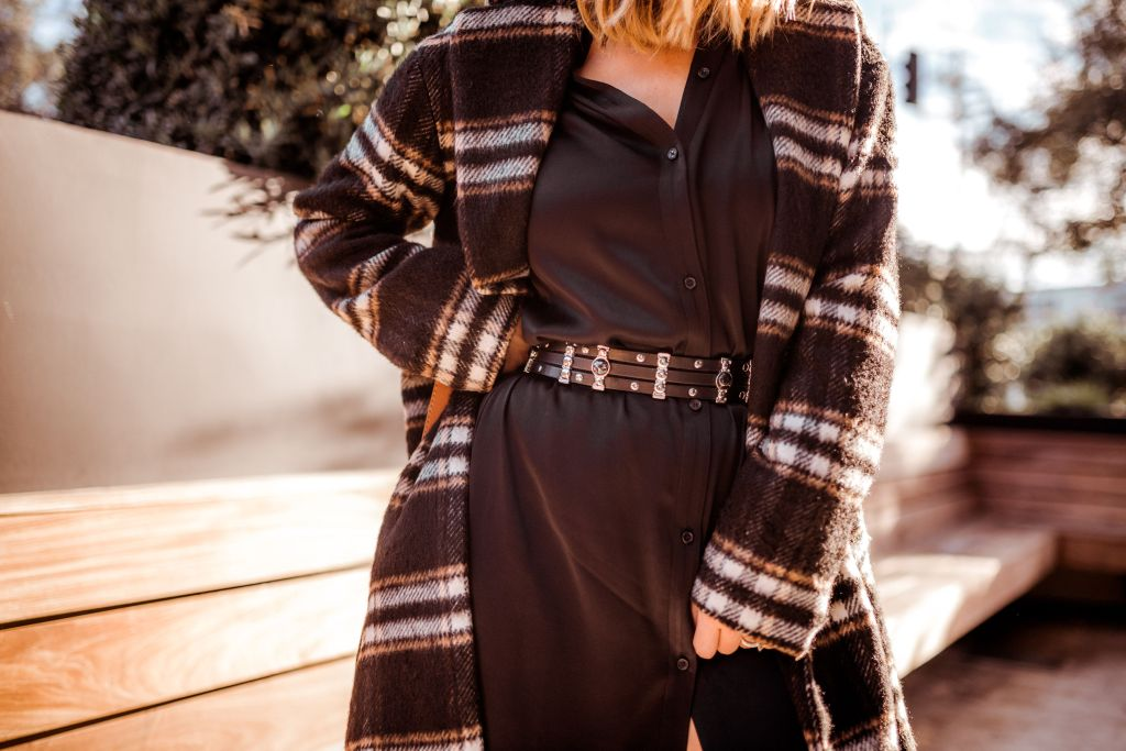 Something Navy Plaid Coat | Charmed by Camille