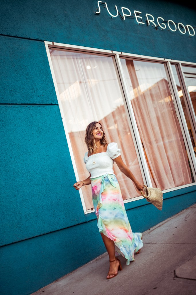 How to Style a Tie Dye Skirt   Charmed by Camille