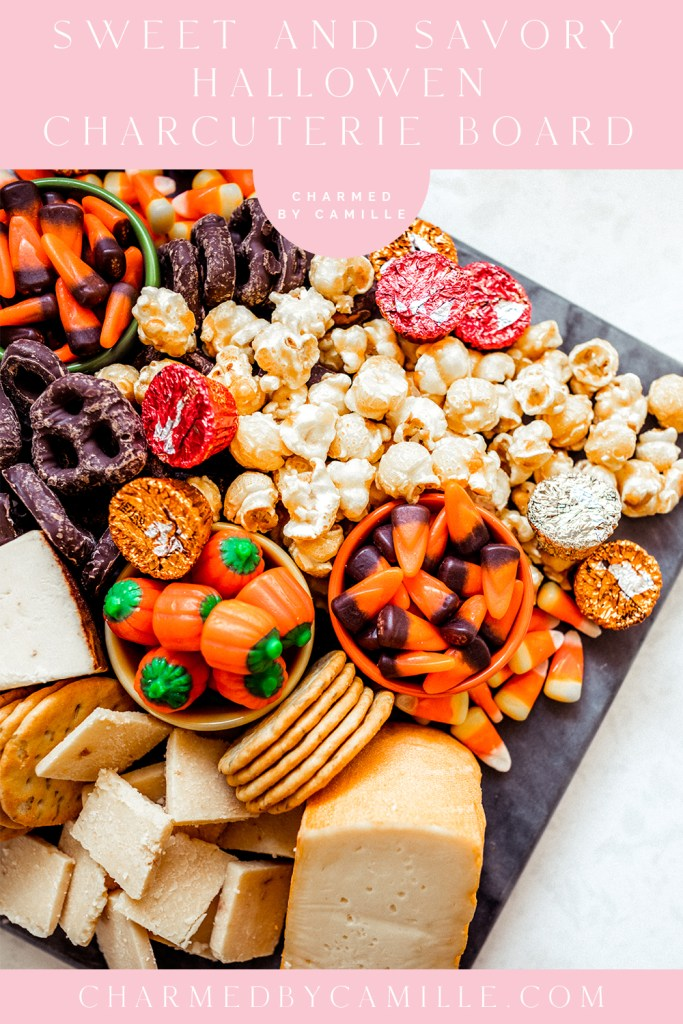 Sweet and Savory Halloween Charcuterie Board, Halloween Movie Night, Halloween Party Ideas | Charmed by Camille