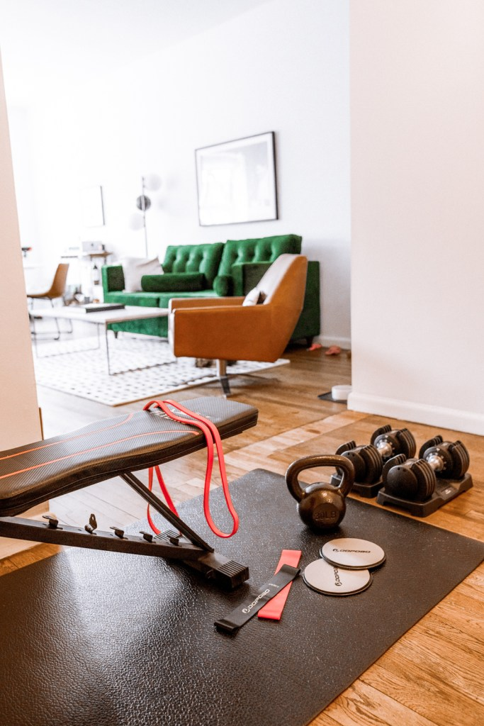 Small Space & Apartment Workout Equipment, at home fitness equipment | Charmed by Camille