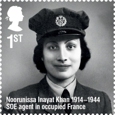 British Royal Mail stamp honoring Noor Inayat Khan