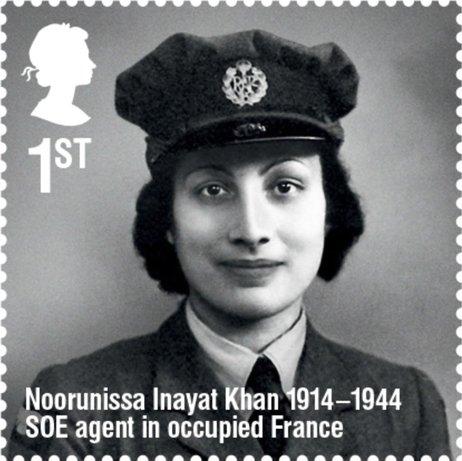 British Royal Mail stamp honoring Noor Inayat Khan