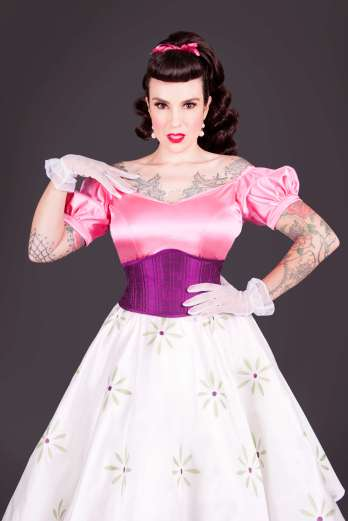 Woman in a purple wasp corset
