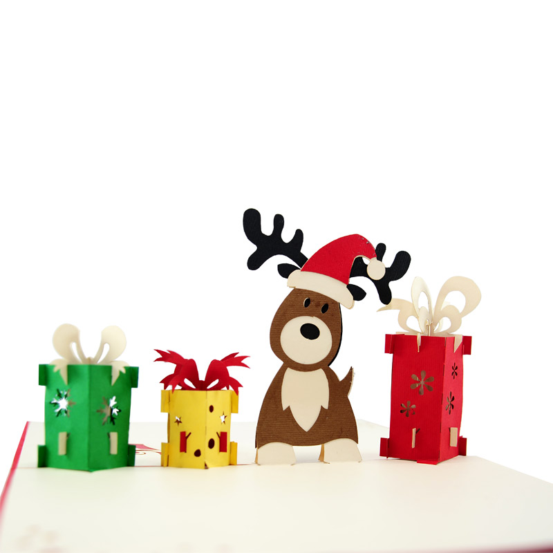 Holiday Reindeer Pop Up Card Christmas 3d Greeting Cards