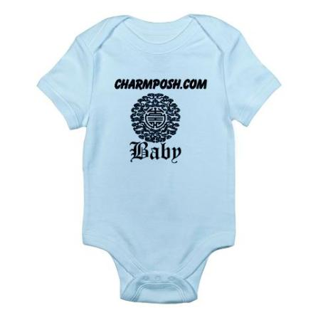 Charm Posh Couture Baby Chinese Motif Bodysuit Blue