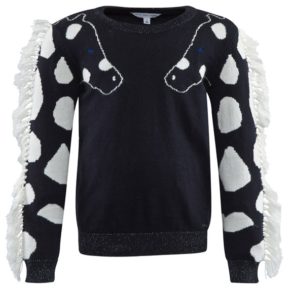 Little Marc Jacobs Navy Knit Jumper with Fringed Sleeves CharmPosh