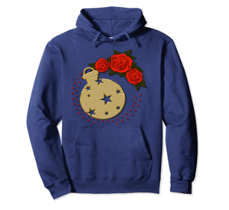 CharmPosh: Roses and Gold Ornament Stars Holiday Hoodie