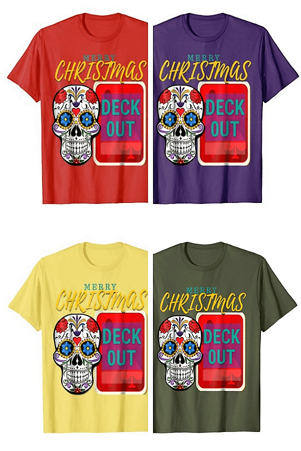 Merry Christmas Deck Out Skull T-Shirt CharmPosh Runway