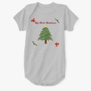 My First Christmas Ever Baby Onesie Grey CharmPosh