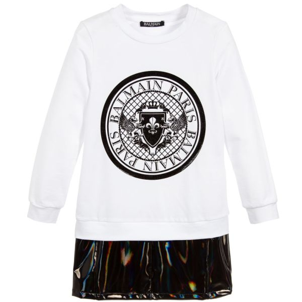 Balmain Paris Girls White Jersey Holographic PVC Logo Dress CharmPosh