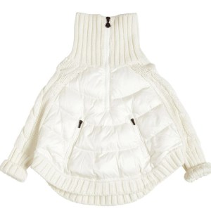 MONCLER White Wool Knit Cape CharmPosh main
