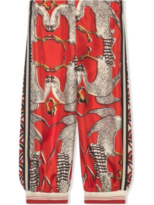 CharmPosh-x-Farfetch-Girls-Designer-Clothes-Gucci-Kids-Silk-Trousers-With-Eagle-Print-CharmPosh