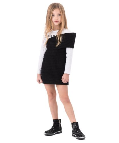 Balmain-Girls-Black-White-Logo-Sweater-Dress-CharmPosh