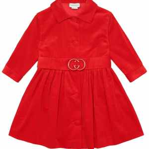 GUCCI Red Corduroy Girls Dress With Designer Belt CharmPosh