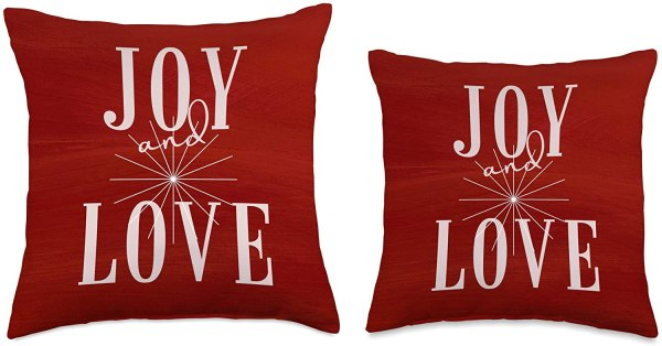 Cheerful Red Joy and Love Holiday Throw Pillow by CRRHome 3