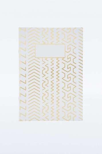 Carnet à motifs géométriques dorés Urban Outfitters - Back to school - Charonbelli's blog mode
