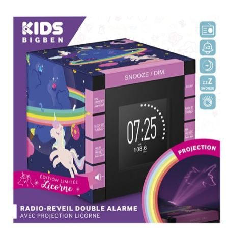 Radio-reveil-double-alarme-avec-projecteur-BigBen-230-V-Licorne-Charonbellis